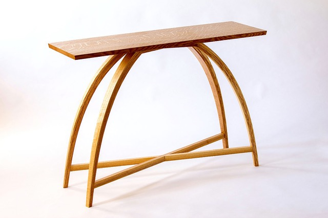 wood table with curved legs